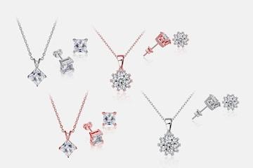 Bodhi eller Fleur smyckeset med Swarovski-kristaller