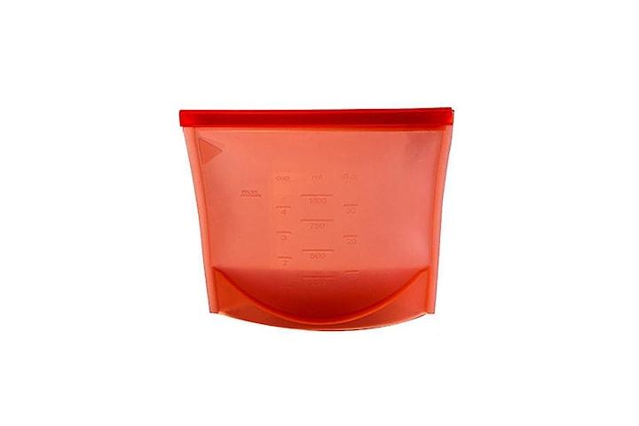 Återanvändbar Ziplock-påse av silikon med mått - Röd