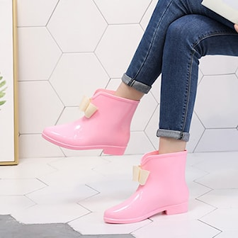 Rosa, 37, Ladies Bow Ankle Rain Boots, , ,