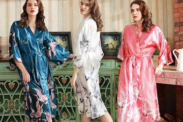 Kimono med fågelmotiv