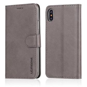 Grå, 8, iPhone PU Leather Flip Wallet Case, Mobilplånbok till iPhone,