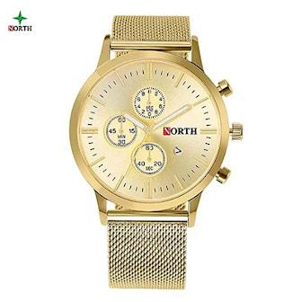 Guld, North Luxury Casual Quartz WatchBand, North Men Quartz, ,