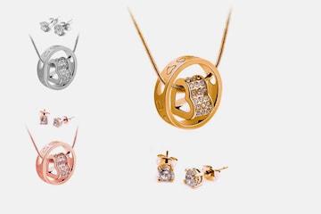Halsband och örhängen med Swarovski-kristaller