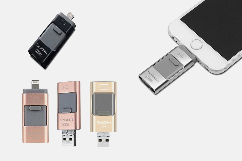3-i-1 flashdrive med  16, 32 eller 64 GB lagring (1 av 11)