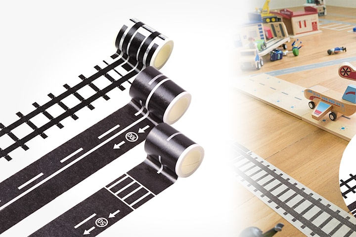 Leksakstejp med tågräls och bilväg 3-6-pack