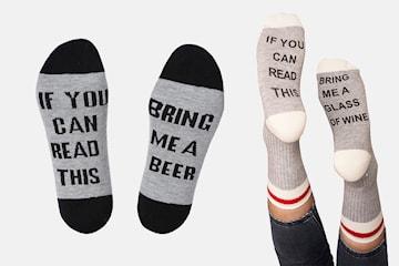 Morsomme sokker med tekst på undersiden 1 eller 2 par