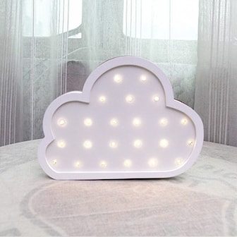 Hvit, Cloud, Wooden LED Night Light, , ,