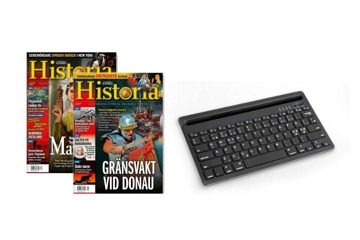 2 nummer av Världens Historia + trådlöst Bluetooth-tangentbord