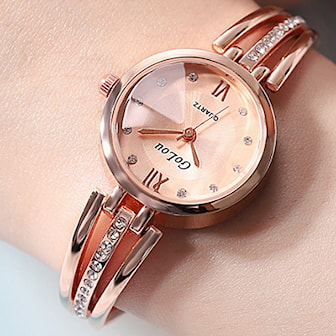 Roséguld, Lady Luxury Fashion Watch Bangle, Lyxig damklocka, ,