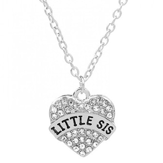 Little Sis, Crystal Sister Necklace, Halsband i silverplätering, ,