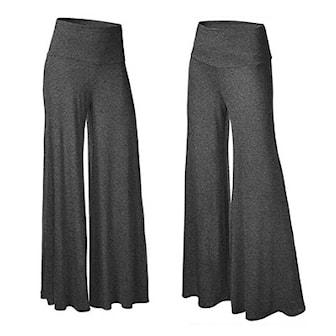 Mörkgrå, L, Wide Leg Pants, Vida byxor, ,