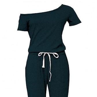 Svart, S, Short Sleeve Jumpsuit, Jumpsuit, ,
