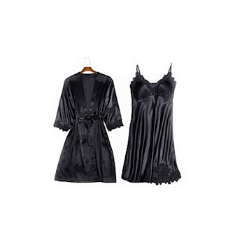 Svart, XL, Nightgown & Robe, Nattlinne & Morgonrock, Pyjamasset i lyxig design,