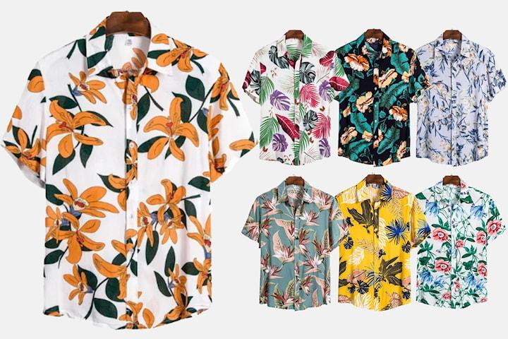 Skjorte med sommertrykk herre