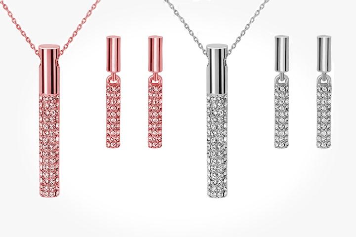 Smycke-set med Swarovski kristaller