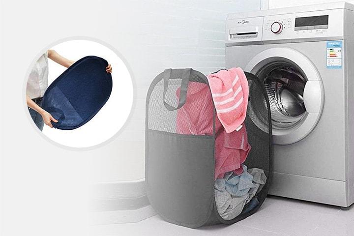 Sammenleggbar vaskekurv med forsterkede håndtak