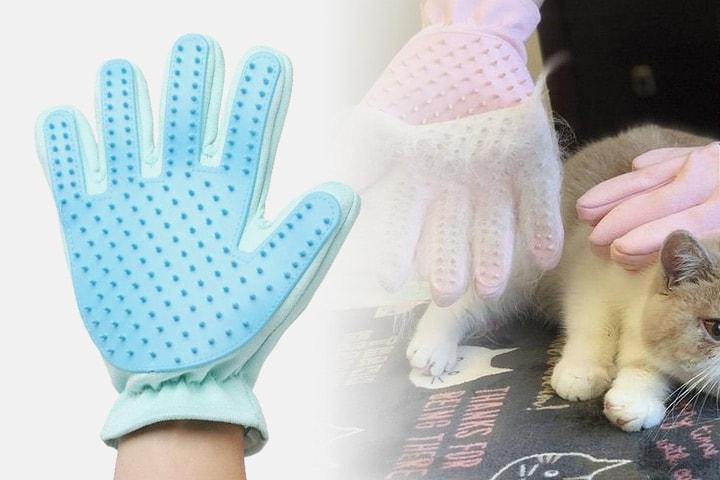 Borsthandske för hund och katt