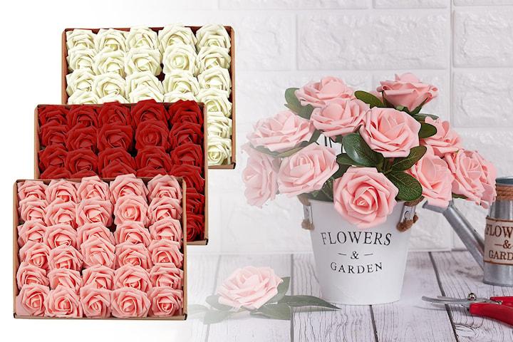 Konstgjorda rosor 25-, 50- eller 75-pack