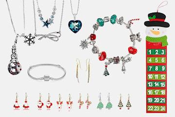 Adventskalender med smykker med Swarovski-krystaller