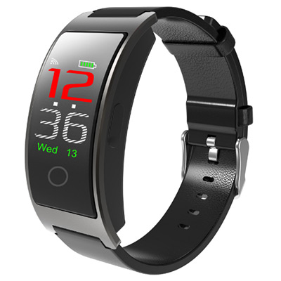 Svart, CK11S Smart bracelet, Aktivitetsarmband med läderarmband, ,  (1 av 1)